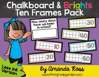 Chalkboard & Brights How Many Days of School? Ten Frames {Less Ink Version}