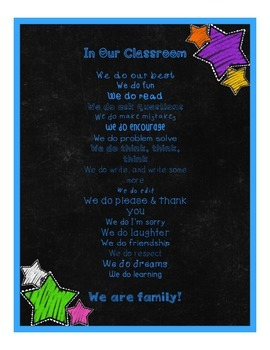 Chalkboard & Brights In Our Classroom, We Do Poster