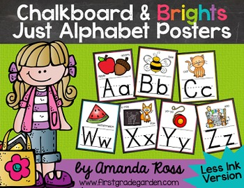 Chalkboard & Brights Just Alphabet Posters {Less Ink Version}