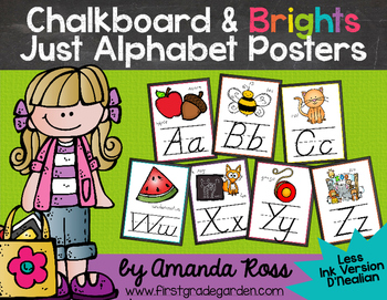Chalkboard & Brights Just Alphabet Posters {Less Ink Version - D'Nealian}