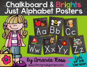 Chalkboard & Brights Just Alphabet Posters {Lots of Ink Version}