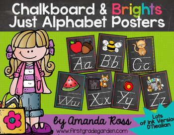 Chalkboard & Brights Just Alphabet Posters {Lots of Ink Version - D'Nealian}