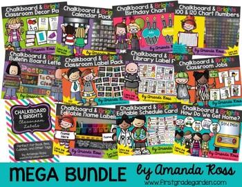 Chalkboard & Brights MEGA Decor Bundle {Less Ink & Primary Font}