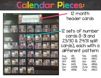 Chalkboard & Brights Mini Calendar Pack {Just Months & Days - Lots of Ink}