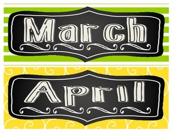 Chalkboard Brights Months of the Year