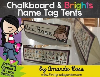 Chalkboard & Brights Name Tag Tents {Editable Names}