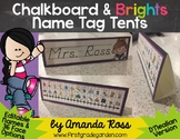 Chalkboard & Brights Name Tag Tents {Editable Names} -- D'Nealian Font