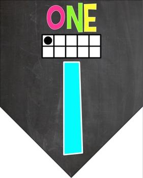 Chalkboard Brights Number Banner 0-20
