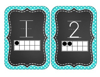Chalkboard Brights Number Cards 1-20- Blue Polka Dot Set