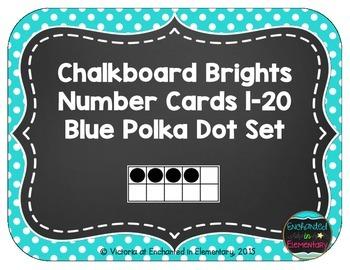 Chalkboard Brights Number Cards 1-20- Blue Polka Dot Set