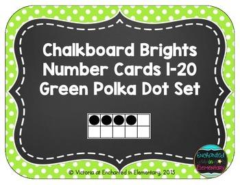Chalkboard Brights Number Cards 1-20- Green Polka Dot Set