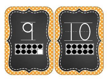 Chalkboard Brights Number Cards 1-20- Orange Polka Dot Set