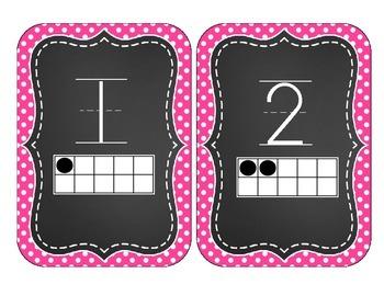 Chalkboard Brights Number Cards 1-20- Pink Polka Dot Set