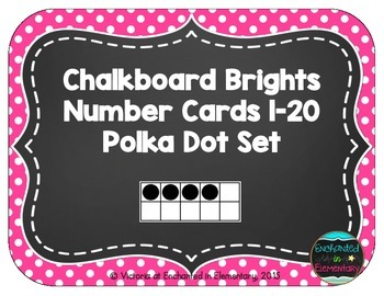 Chalkboard Brights Number Cards 1-20- Polka Dot Set