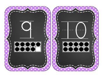 Chalkboard Brights Number Cards 1-20- Purple Polka Dot Set