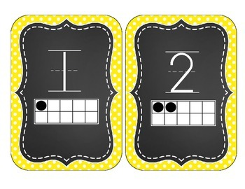 Chalkboard Brights Number Cards 1-20- Yellow Polka Dot Set
