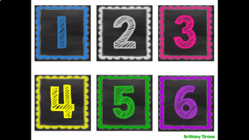 Chalkboard & Brights Number Labels 1-100