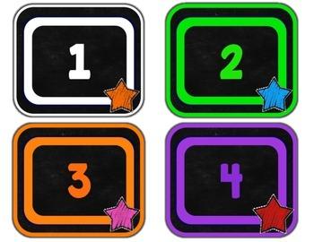 Chalkboard & Brights Number Labels