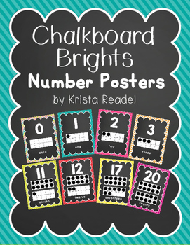 Chalkboard Brights Number Posters 0-20 {Rainbow}