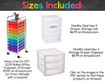 Chalkboard & Brights Plastic Drawer Labels {Editable Text}