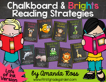 Chalkboard & Brights Reading Strategy Posters {Lots of Ink Version}
