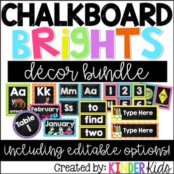 Chalkboard Brights Room Decor *EDITABLE