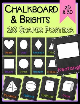 Chalkboard & Brights Shape Posters