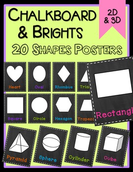 Chalkboard & Brights Shape Posters