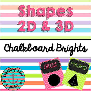 Chalkboard Brights Shape Posters