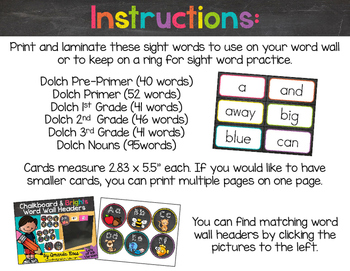 Chalkboard & Brights Sight Word Cards {Dolch Edition}