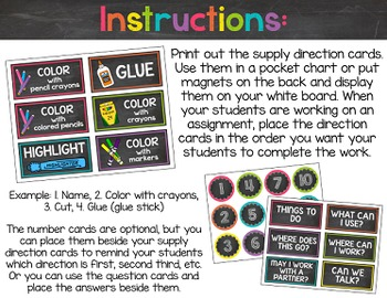Chalkboard & Brights Supply Direction Cards