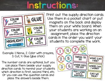 Chalkboard & Brights Supply Direction Cards {Less Ink Version}
