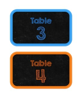 Chalkboard & Brights Table Numbers