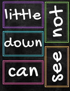 Chalkboard Brights Theme Pre Primer Sight Words Dolch for Word Walls