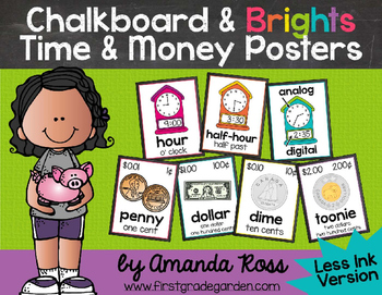 Chalkboard & Brights Time & Money Posters {Less Ink Version}