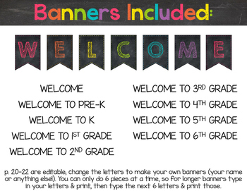 Chalkboard & Brights Welcome Banner {Plus Editable Version}