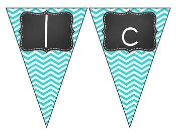 Chalkboard Brights Welcome Pennant- Blue Chevron Set