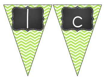 Chalkboard Brights Welcome Pennant- Green Chevron Set
