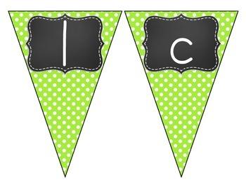 Chalkboard Brights Welcome Pennant- Green Polka Dot Set