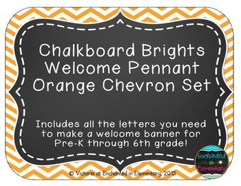 Chalkboard Brights Welcome Pennant- Orange Chevron Set