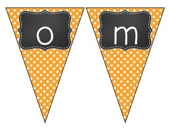 Chalkboard Brights Welcome Pennant- Orange Polka Dot Set