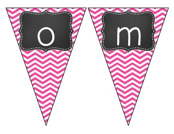 Chalkboard Brights Welcome Pennant- Pink Chevron Set