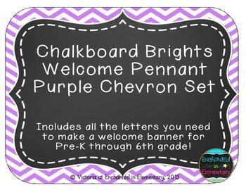Chalkboard Brights Welcome Pennant- Purple Chevron Set