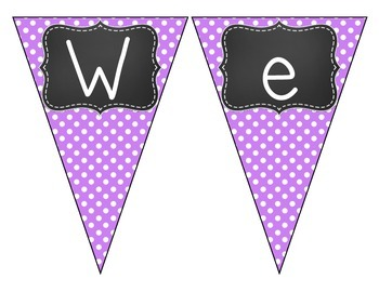 Chalkboard Brights Welcome Pennant- Purple Polka Dot Set