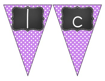Chalkboard Brights Welcome Pennant- Purple Polka Dot Set