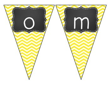 Chalkboard Brights Welcome Pennant- Yellow Chevron Set