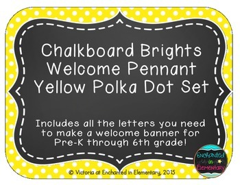 Chalkboard Brights Welcome Pennant- Yellow Polka Dot Set