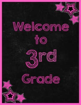 Chalkboard & Brights Welcome to ___ Grade Poster (Pink)