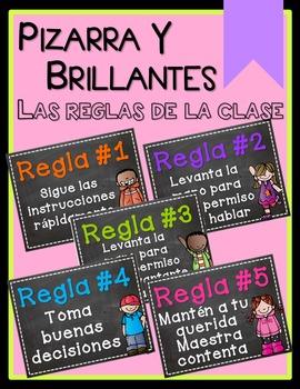 Chalkboard & Brights Whole Brain Teaching Rules - SPANISH