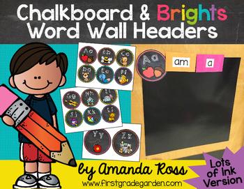 Chalkboard & Brights Word Wall Headers